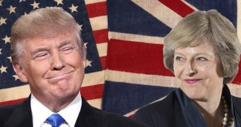 Trump and May grinning