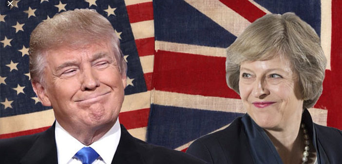 Trump and May grinning
