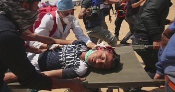 Shot Palestinian on stretcher