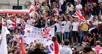 Far right protesters in Trafalgar Square