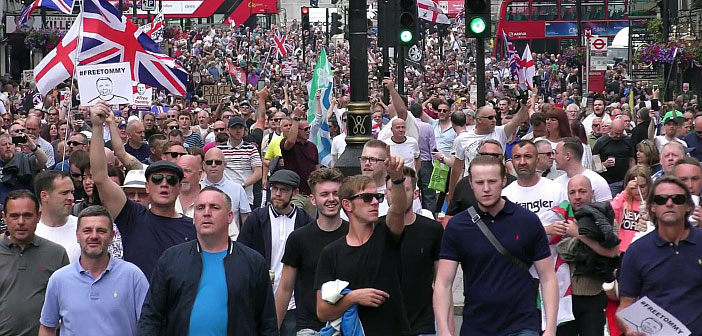 Free Tommy Robinson protest by far right 9 June 2018