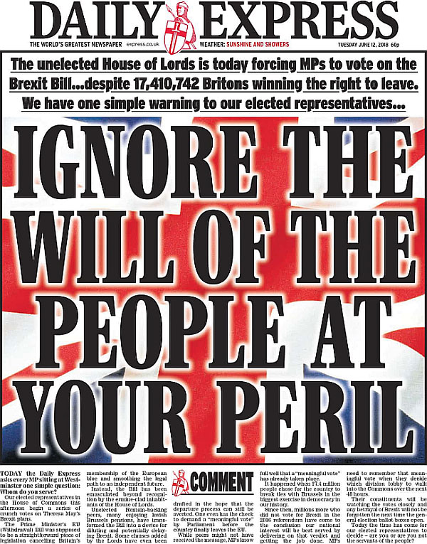 Daily Express: ignore the will of the people at your peril
