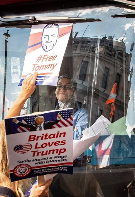 Trump and Tommy Robinson supporters harass Muslim bus driver