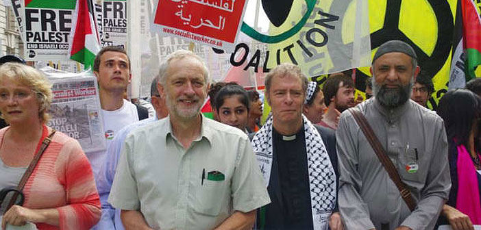Jeremy Corbyn at protest for Palestine
