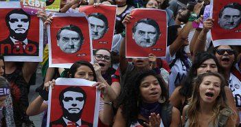 Brazillian women protest against ne0-fascist Jair Bolsonaro