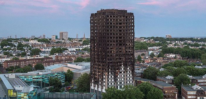 Burnt shell of Grenfell Tower