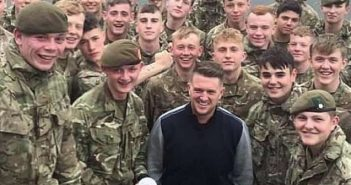 Tommy Robinson pictured with UK soldiers