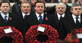 Warmongering politicians on red poppy day