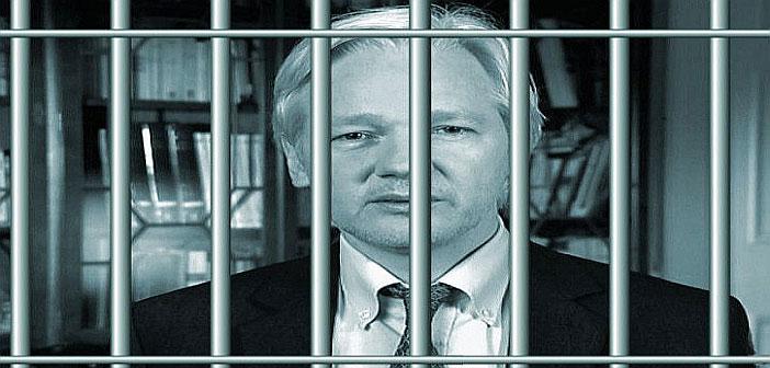 Julian Assange behind bars