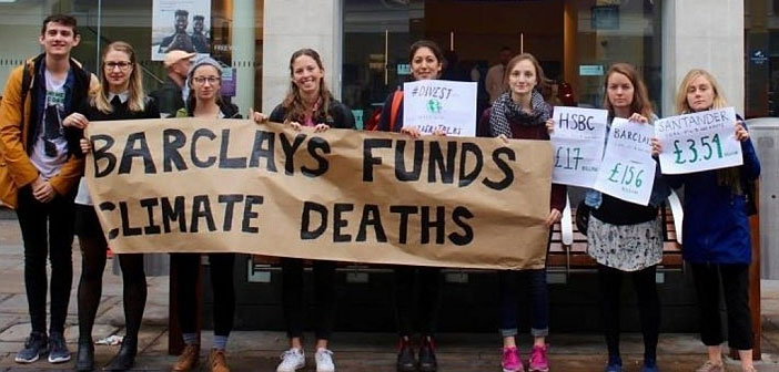 Barclay Bank funds climate deaths