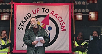 Michael Rosen speaking at Stand Up to Racism demonstration