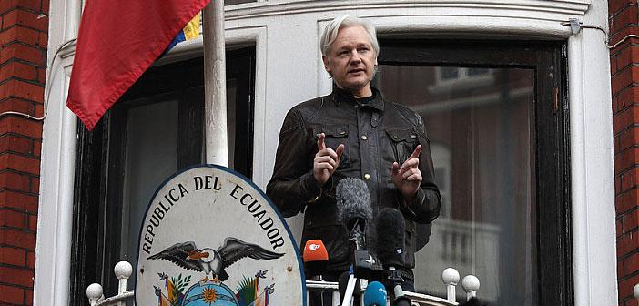 Julian Assange outside Ecuador Embassy