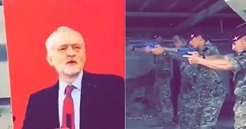 Uk army members using Jeremy Corbyn for target practice